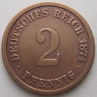 Германия 2 пфеннига 1874 год (A)