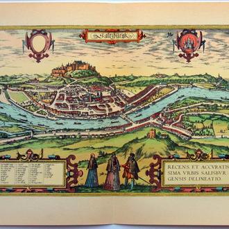 План карта Зальцбурга  1570 г. копия 1938 года Лейпциг Fv8.9