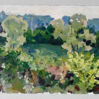 Пейзаж с зеленью 1970х гг. Советское искусство, подписана