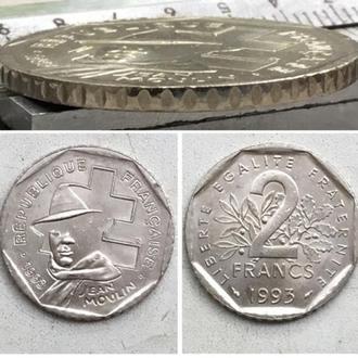 Франция 2 франка, 1993г  50 лет Национальному движению сопротивления