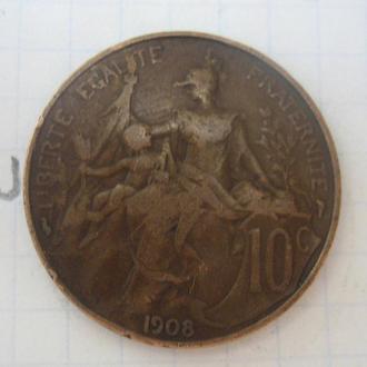 Франция, 10 сантимов 1908 года.