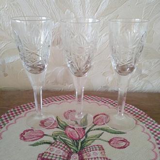 Хрустальные бокалы для вина. 3 шт. Н-17,4 см.