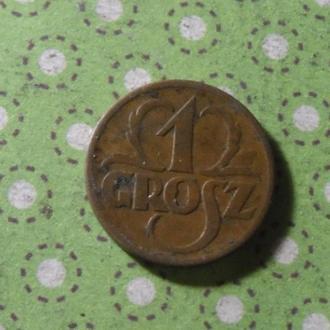 Польша 1938 год монета 1 грош !