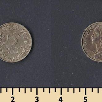 Франция 5 сантимов 1969