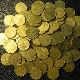 10 євроцентів 100шт (різні країни) суперлот, сума 10 євро, по курсу