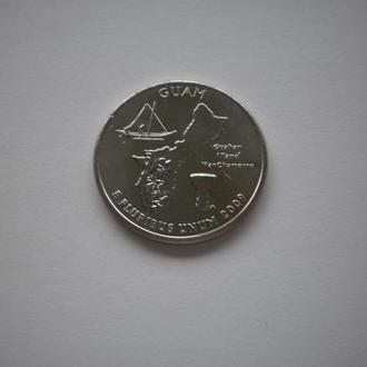 Гуам GUAM Guam монета США Америка квотер США 25 центів 25 центов 2009 рік 2009 год штати території