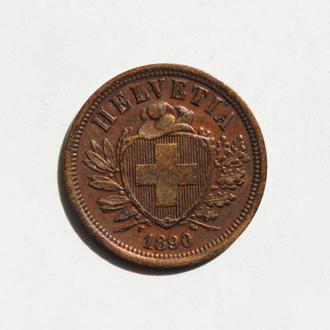 Швейцария 2 раппена 1890 г. РЕДКАЯ