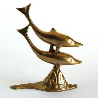 Антикварная фигурка статуэтка Дельфины, бронза