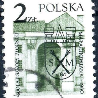 Польша. Архитектура (серия, надпечатка) 1980 г.