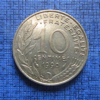 Монета 10 сантимов Франция 1990
