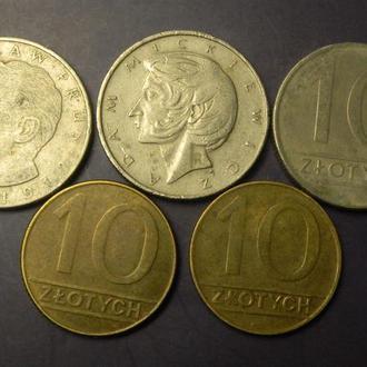 10 злотих Польща (порічниця) 5шт, всі різні