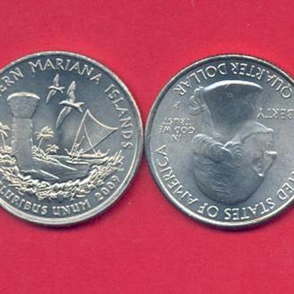 Монеты Америка США  25 центов 2009 г. Марианские острова
