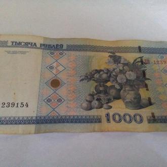 Оригинал. Беларусь 1000 рублей 2000 года. Серия: ЛВ 1239154.