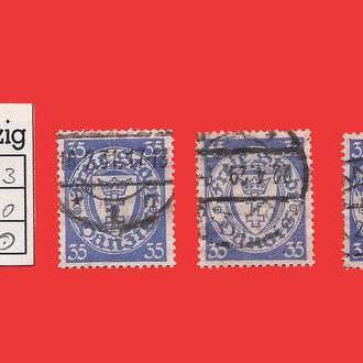 ✠ DANZIG Mi.215 x 3 ✠ 3 марки Used ✠ 1924-37 ✠Данциг ✠Гданьск ✠  Герб ✠