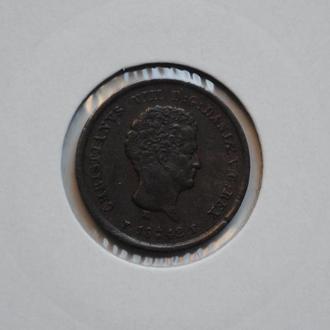 Дания 1/5 скиллинга 1842 г., 'Король Кристиан VIII (1839-1848)', РЕДКАЯ