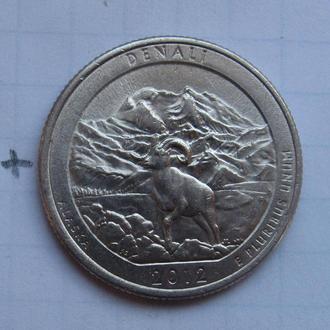 """США. 25 центов 2012 г. (ALASKA DENALI """"P"""")."""