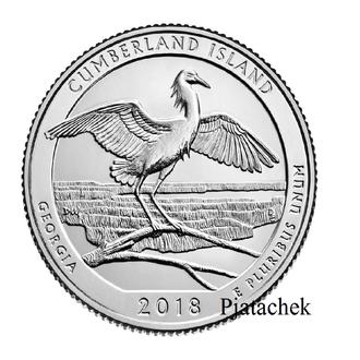 25 центов 2018 США 44-й парк. Остров Камберленд. Штат Джорджия, Снежная цапля