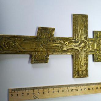 Старинный православный  крест, 19 век, распятие с молитвой, бронза, сохран!