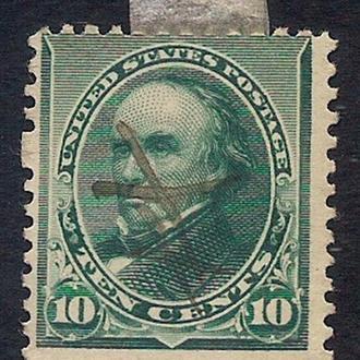1890 год. 10-cents США  Люди на марках. Daniel Webster. Ручное гашение.