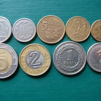 Польша 1 2 5 10 20 50 грошей 1 2 5 злотых 2009 Годовой набор