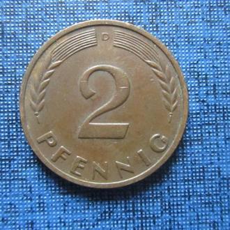 Монета 2 пфеннига ФРГ 1965 D