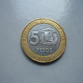 Доминиканская Республика 5 песо 1997 юб. биметалл