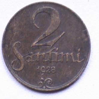 2 Сантима 1928 г Латвия 2 Сантіма 1928 р Латвія