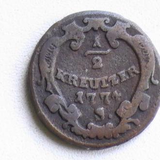 1/2 Крейцера 1774 г S Австрия 1/2 Крейцера 1774 р S Австрія
