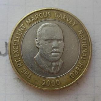 ЯМАЙКА. 20 долларов 2000 г. (БИМЕТАЛЛ).