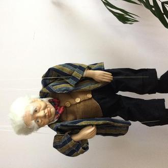 Фарфоровая кукла Англия. Дедушка. Клоун. Большая.