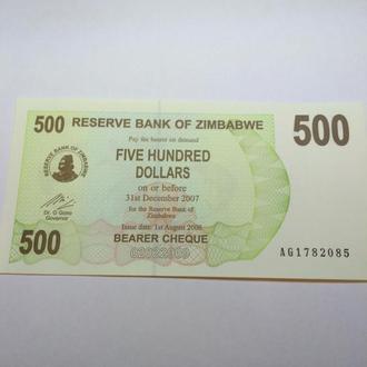 500 долларов 2007 Зимбабве, пресс, unc, оригинал