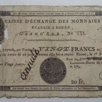 "20 франков Rouen 1797-1803 20 Fr ""annulé Франция"