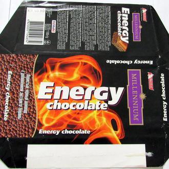 Обёртка от шоколада  Millenium Energy Chocolate 100 г 2010 год