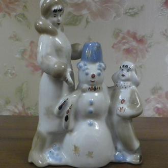 """Статуэтка """"Снеговик"""" 19,5 см из серии """"Зимний дворик"""" автор Албул Полонное"""