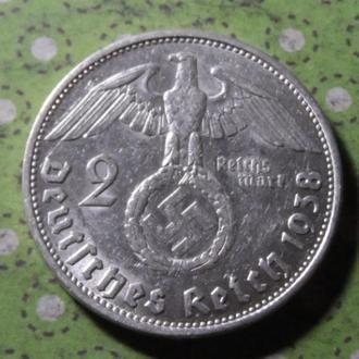 Германия 1938 монета 2 марки Третий Рейх серебро В