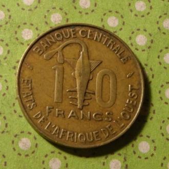 Западно Африканский Союз 1976 год монета 10 франков Западная Африка !