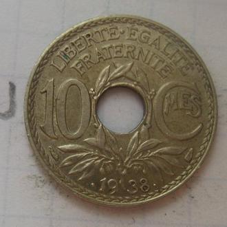Франция 10 сантимов 1938 года (СОСТОЯНИЕ!).