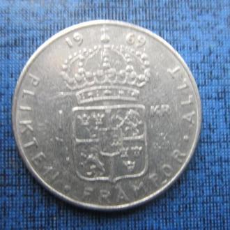 монета 1 крона Швеция 1969