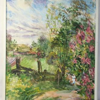 """Шульган А.В. """"Сельский пейзаж"""". Бумага, акварель. Размеры 76х67 см."""