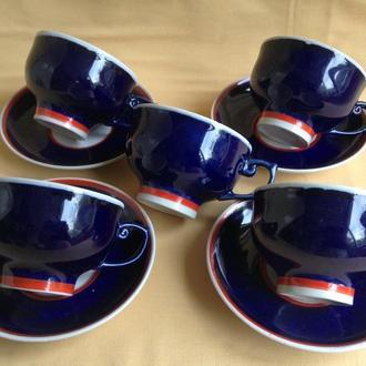 Чайные пары - чашки с блюдцами. Фарфор, кобальт.