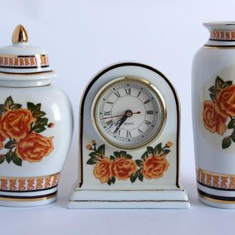 Фарфоровый набор для интерьера - часы и две вазы 1980-е гг., Germany
