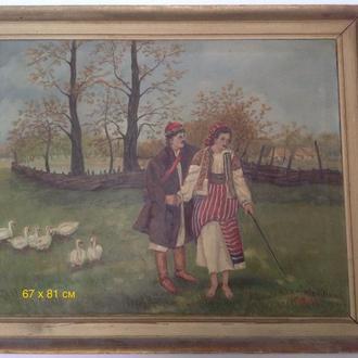 Картина1 старинная масло холст
