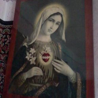 Икона образ старинный большой Иисус и Мария