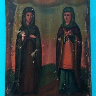 Старинная Икона Мария и Елизавета. до 1917 г. Очень редкая!