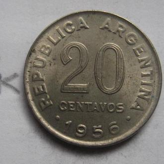 АРГЕНТИНА, 20 сентаво 1956 года.