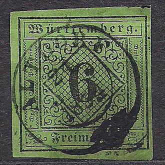 Немецкие земли, Wurttemberg, 1851 г., первые марки, марка № 3