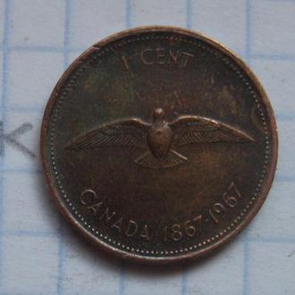 КАНАДА, 1 цент 1967 года (юбилейный 100 лет Конфедерации).