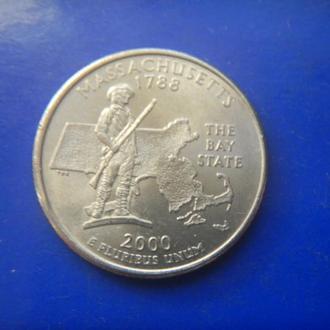 США 25 центов Масачусет P 2000