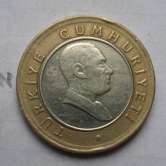 ТУРЦИЯ, 50 новых куруш 2005 года (биметалл).
