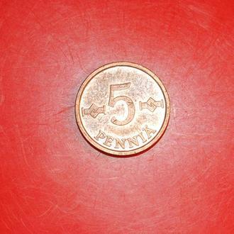 5 пенни 1976 г Финляндия